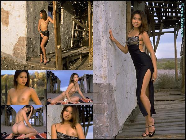 Linda Tran in Black Evening Dress at Foxes.com